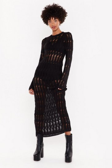 Womens Black Trouble is a Friend Distressed Knit Dress