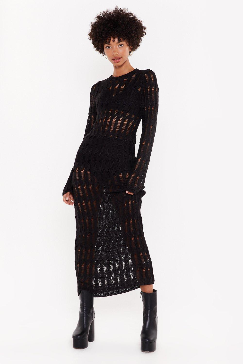 Trouble Is A Friend Distressed Knit Dress by Nasty Gal
