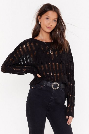 Womens Black Trouble is a Friend Distressed Knit Sweater