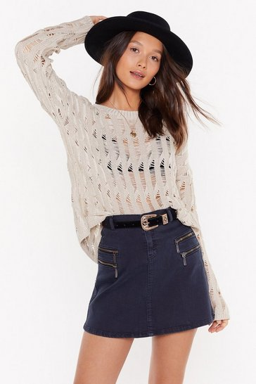 Womens Oatmeal Trouble is a Friend Distressed Knit Jumper