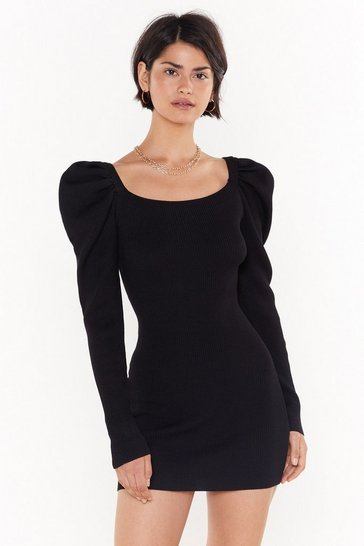 Womens Black You Gotta Sleeve Ribbed Mini Dress