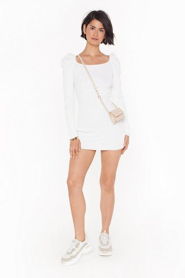 Womens Ecru You Gotta Sleeve Ribbed Mini Dress