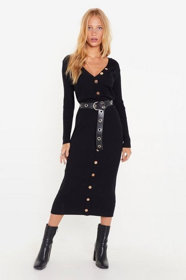 Womens Black Break It Button-Down Ribbed Midi Dress
