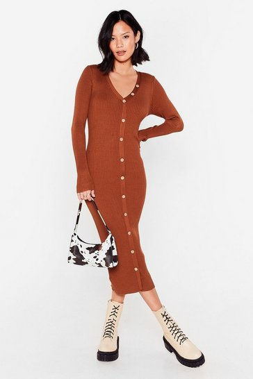 Womens Clay Break It Button-Down Ribbed Midi Dress