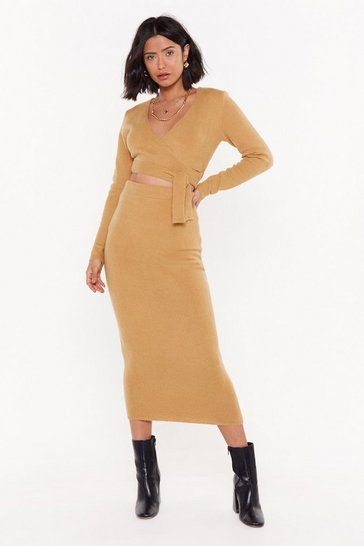 Camel Get Used to Knit High-Waisted Midi Skirt
