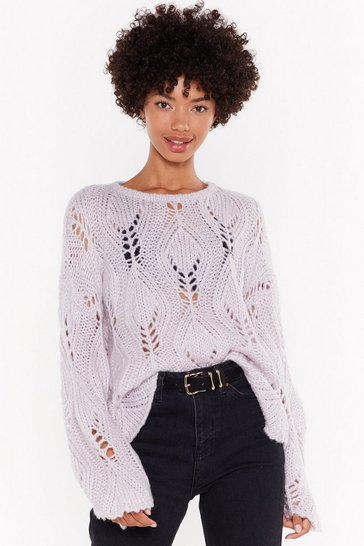 Womens Lilac The Pointelle of No Return Knit Sweater