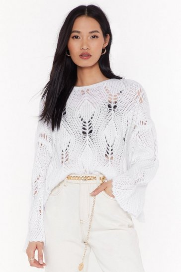 Womens White The Pointelle of No Return Knit Sweater