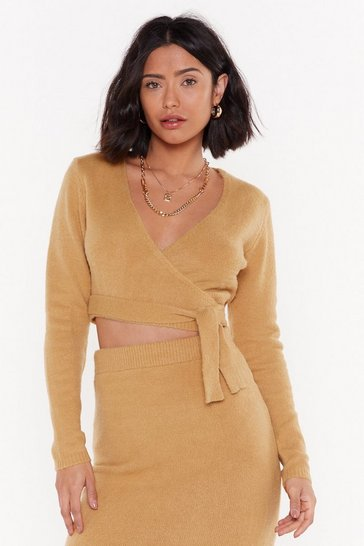 Camel Get Used to Knit Cropped Wrap Sweater