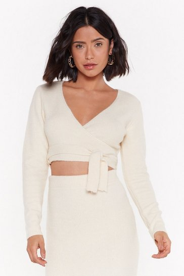 Womens Ecru Get Used to Knit Cropped Wrap Sweater