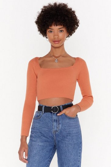 Womens Rose Don't Forget Square You Belong Ribbed Crop Top