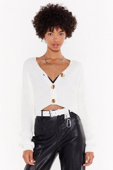 Womens Cream V The One Button-Down Cropped Cardigan