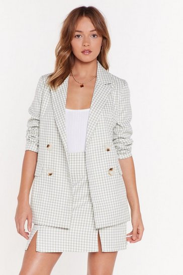 Womens Sage The Checks in the Mail Double Breasted Blazer