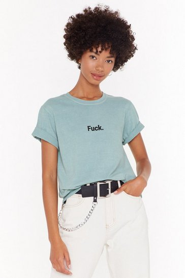 Womens Sage Oh Fuck Graphic Tee