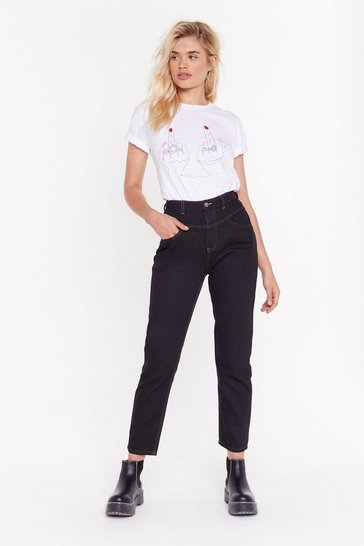 Womens Black Get Stitch High-Waisted Mom Jeans