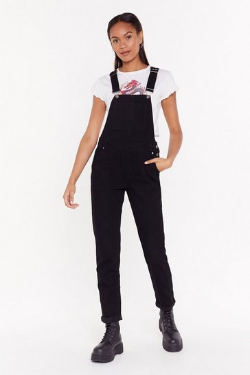 Womens Black Working Hard Denim Boyfriend Dungarees