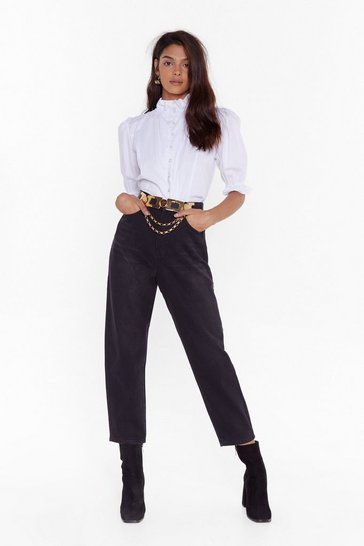 Womens Black Make Balloon for Me Denim Mom Jeans