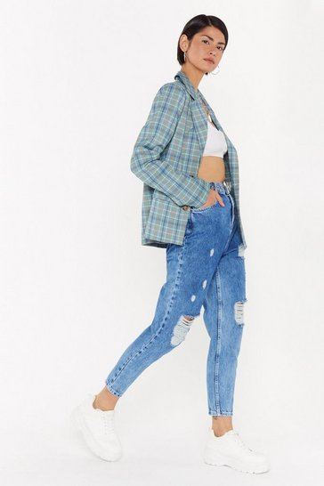 Womens Light blue High on You Distressed Mom Jeans