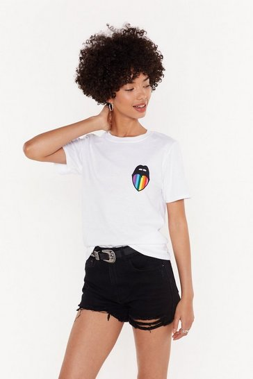 Womens White MS Nasty Rainbow Mouth Tee