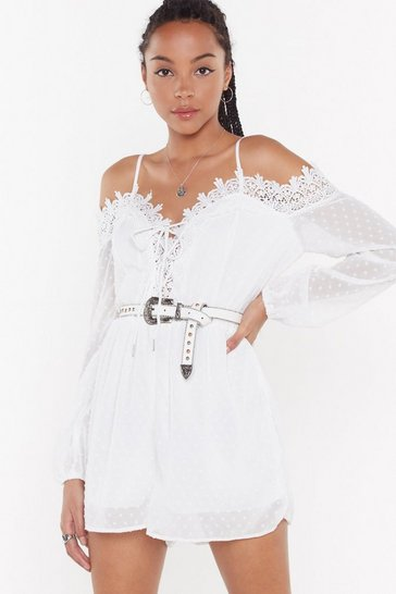 Womens White Crochet Trim Cold Shoulder Playsuit