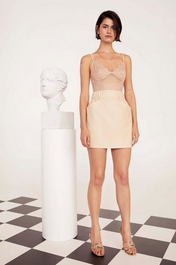 Womens Cream Own It Faux Leather Mini Skirt