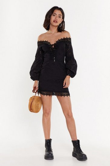 Womens Black Sleeve Early Broderie Anglaise Mini Dress