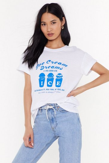 Womens White Ice Cream Dreams Graphic Tee