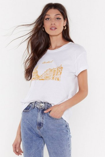 Womens White Hola Madrid Skyline Graphic Tee