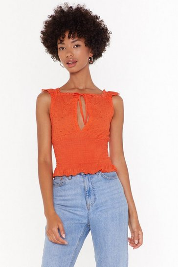Womens Orange Oh Happy Anglaise Shirred Broderie Top
