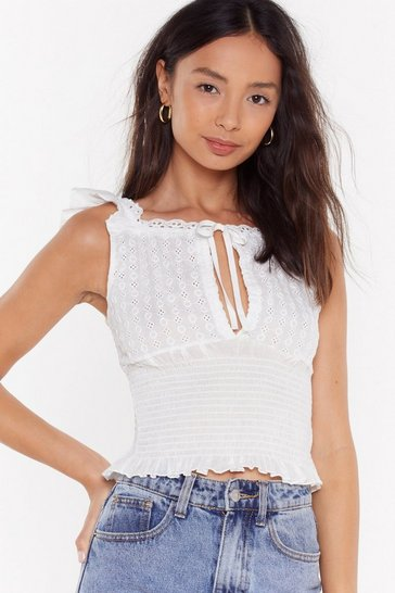 Womens White Oh Happy Anglaise Shirred Broderie Top