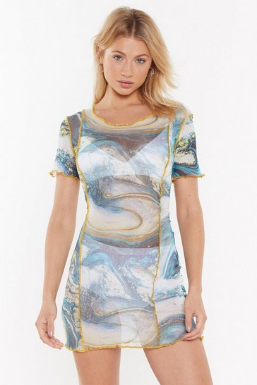 Womens Blue Losing My Marbles Mesh Mini Dress