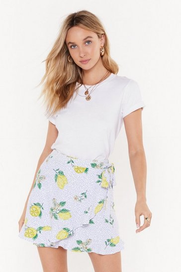 Womens White Lemon Print Ruffle Wrap Skirt