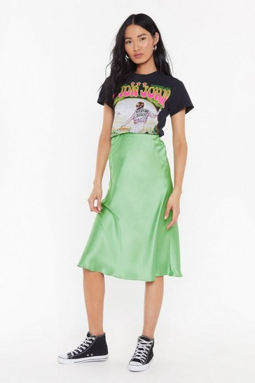 Apple green Slipped and Fell Satin Midi Skirt