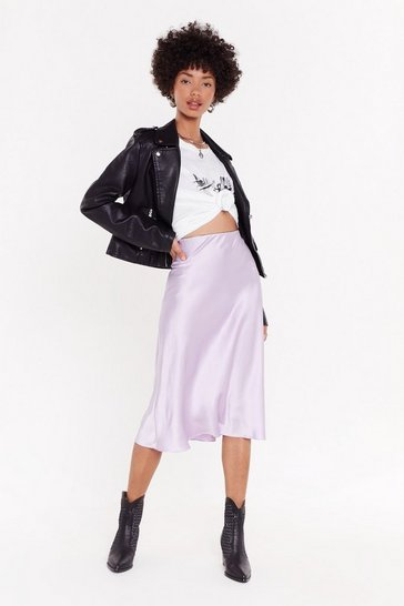 Womens Mauve Slipped and Fell Satin Midi Skirt
