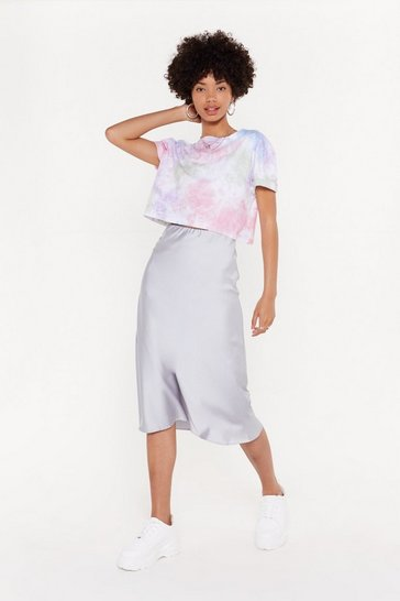 Womens Silver Slipped and Fell Satin Midi Skirt