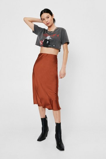 Womens Tan Slipped and Fell Satin Midi Skirt