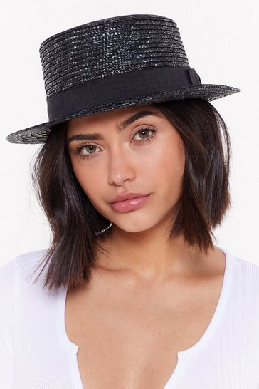 Womens Black Bow Before the Queen Straw Boater Hat