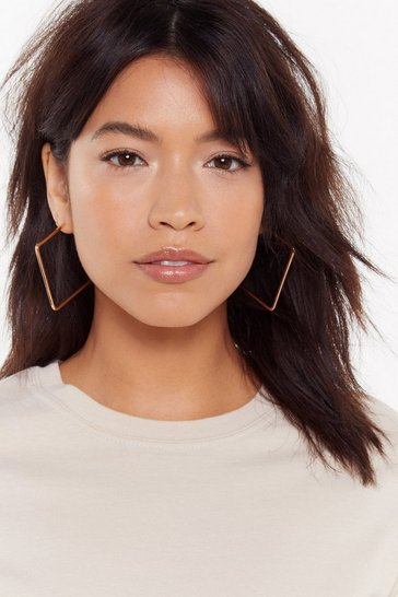 Womens Gold Tender Love and Square Oversized Hoops