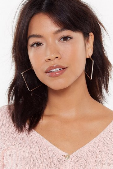 Womens Silver Tender Love and Square Oversized Hoops