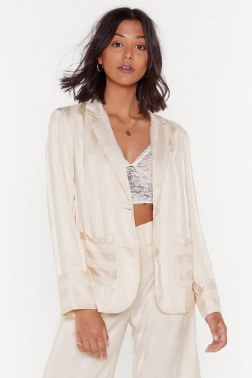 Cream The Line of Your Life Striped Satin Blazer