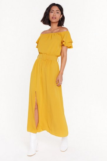 Womens Mustard What Took You So Long Belted Maxi Skirt