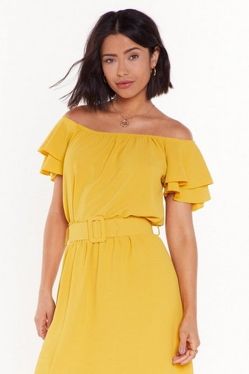 Mustard Moved to Tiers Off-the-Shoulder Ruffle Top