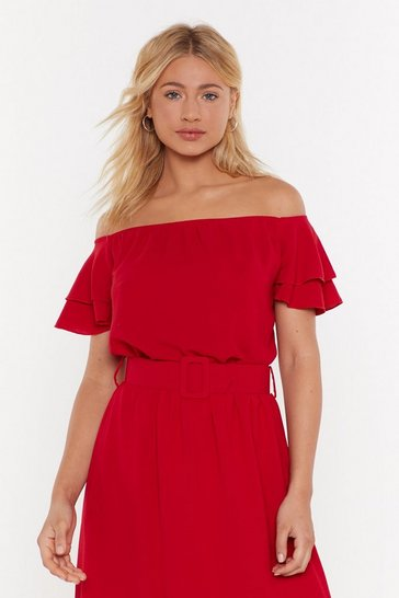 Womens Red Moved to Tiers Off-the-Shoulder Ruffle Top