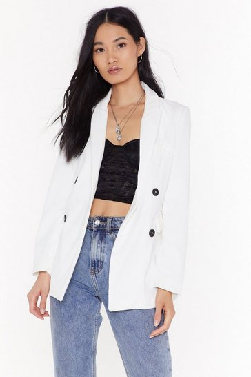 Womens White Back to the Grind Corduroy Blazer