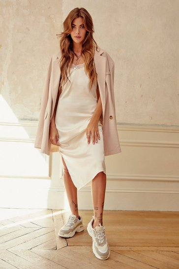 Womens Cream Out on a Trim Satin Midi Dress