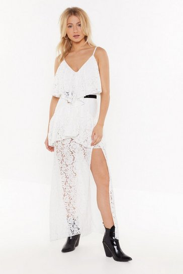 Womens White In Lace You Forgot Tiered Maxi Dress