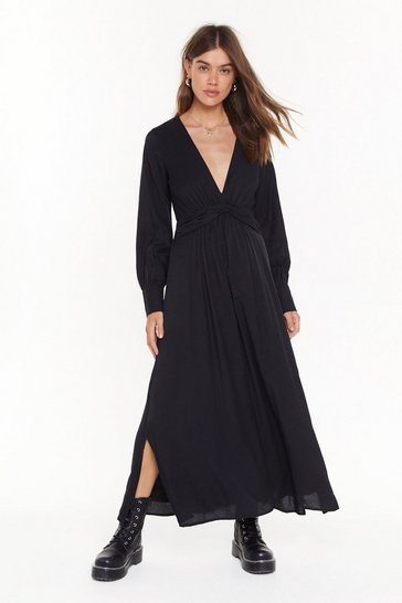 Black V Right Back Plunging Miaxi Dress