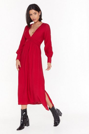Womens Red V Right Back Plunging Midi Dress