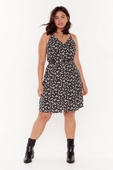 Black Flower Time to Shine Plus Floral Mini Dress