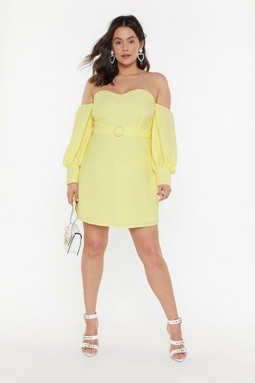 Womens Lemon Keep Your Hands Off-the-Shoulder Plus Mini Dress