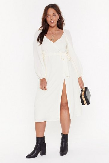 Womens Cream All You Need Is Puff Sleeve Plus Midi Dress